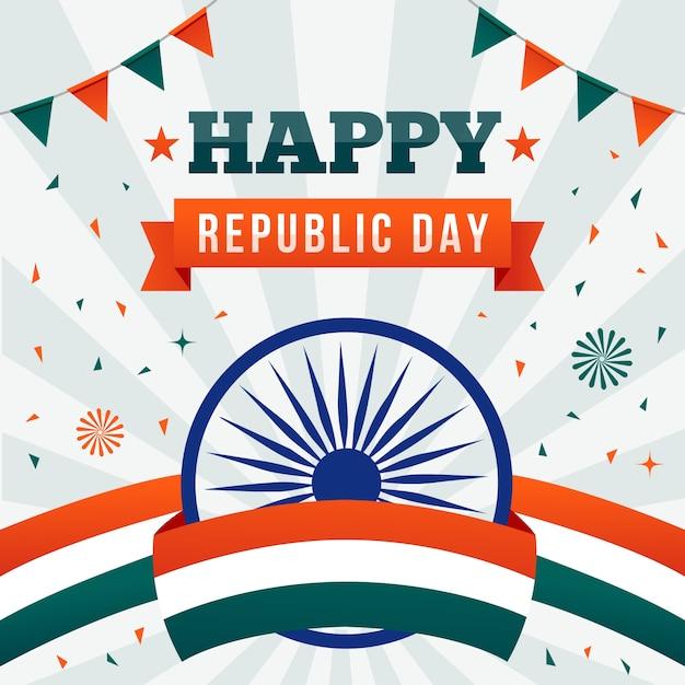 Platte ontwerp van indiase republiek dag met vlag lint en slingers Gratis Vector