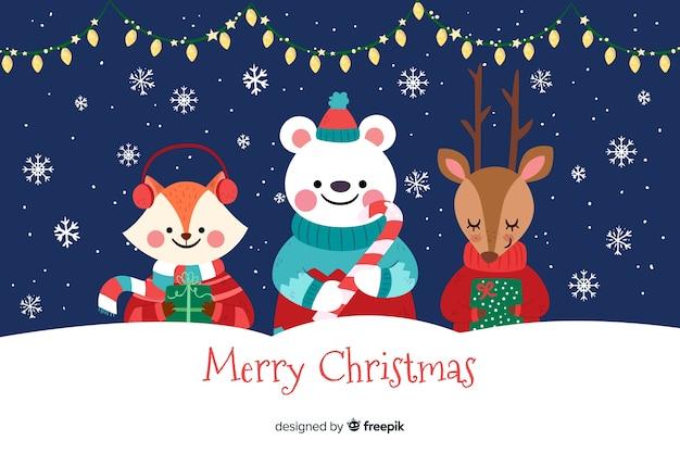 Platte ontwerp van kerstmis achtergrond Gratis Vector