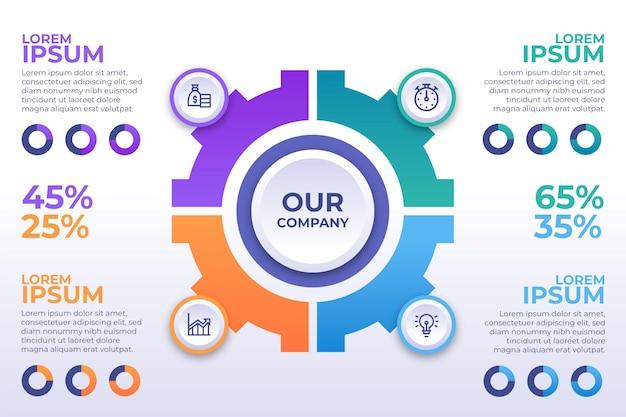Platte ontwerp van kleurovergang zakelijke infographics Gratis Vector
