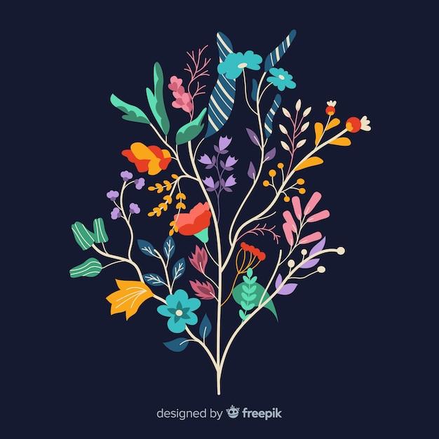 Platte ontwerp van kleurrijke bloementak Gratis Vector