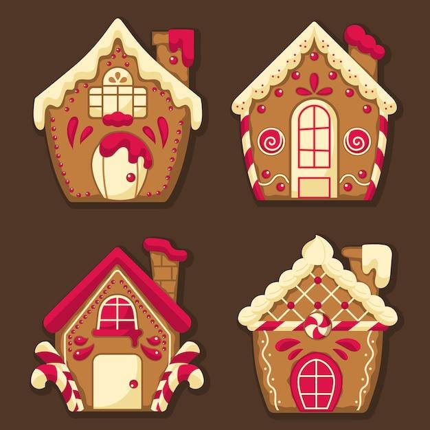 Platte ontwerp van peperkoek huis collectie Gratis Vector