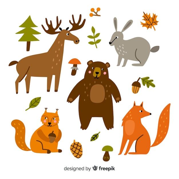 Platte ontwerp van schattige dieren collectie Gratis Vector