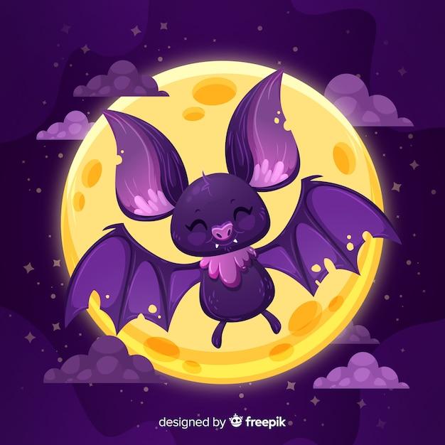 Platte ontwerp van schattige halloween vleermuis Gratis Vector