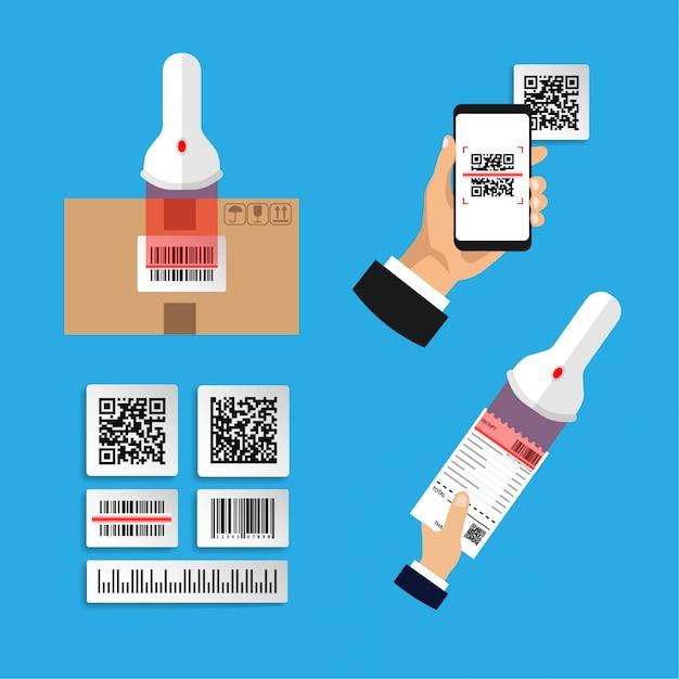 Platte ontwerp van set infographics over het scannen van codes. scan barcode en qr-code. geïsoleerde illustratie. Premium Vector