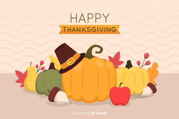 Platte ontwerp van thanksgiving achtergrond Gratis Vector