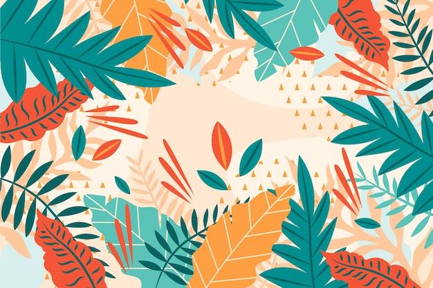 Platte ontwerp van tropische bloemen achtergrond Gratis Vector