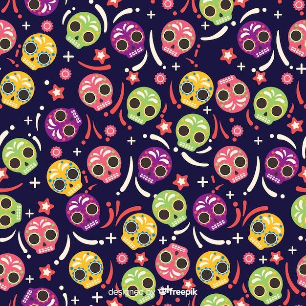 Platte ontwerp van van dia de muertos patroon Gratis Vector