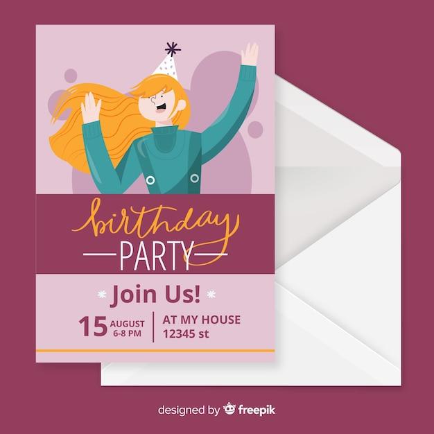 Platte ontwerp van verjaardag uitnodiging sjabloon Gratis Vector