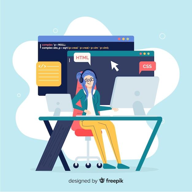 Platte ontwerp vector lachende vrouwelijke programmeur Gratis Vector