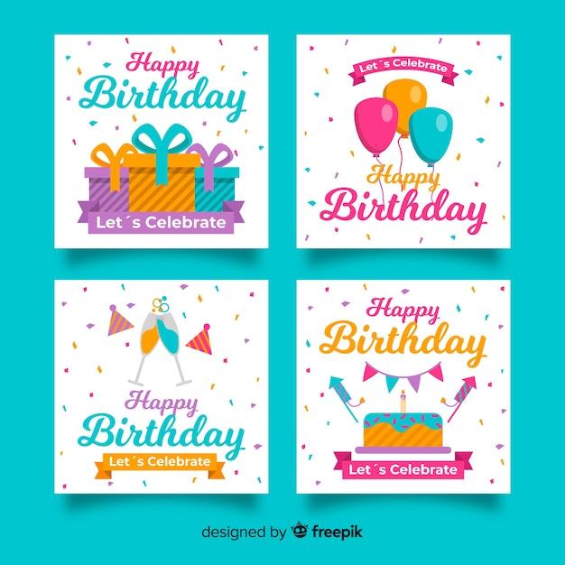 Platte ontwerp verjaardagskaart collectie Gratis Vector