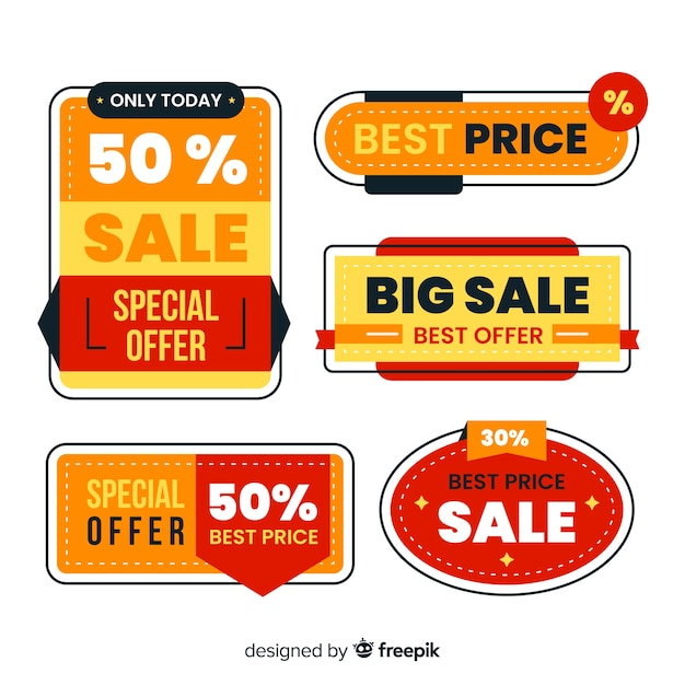 Platte ontwerp verkoop label collectie Gratis Vector