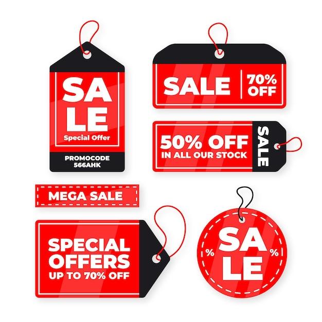 Platte ontwerp verkoop tag-collectie Gratis Vector