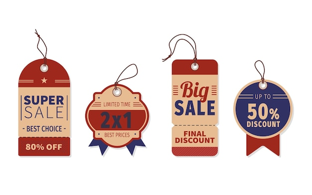 Platte ontwerp verkoop tags pack Gratis Vector