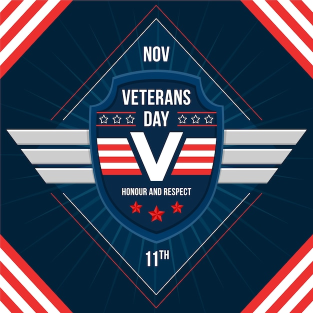 Platte ontwerp veteranen dag achtergrond Gratis Vector