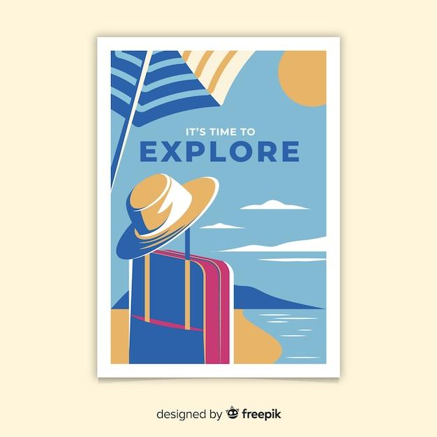 Platte ontwerp vintage reizen poster Gratis Vector