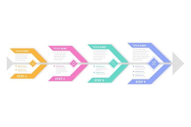 Platte ontwerp visgraat infographic sjabloon Gratis Vector