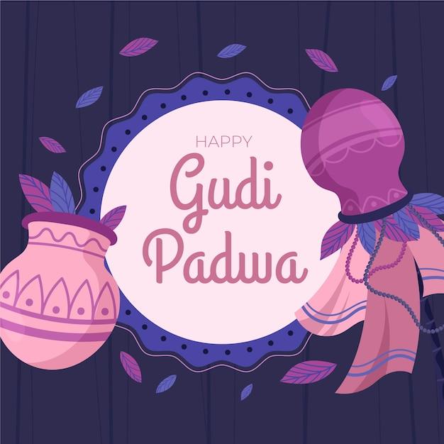 Platte ontwerp voor gudi padwa evenement Gratis Vector