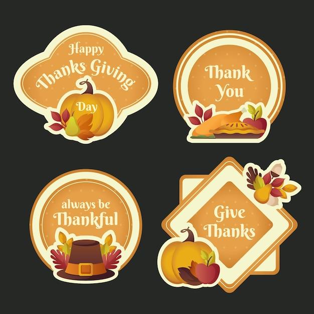Platte ontwerp voor thanksgiving labelcollectie Gratis Vector