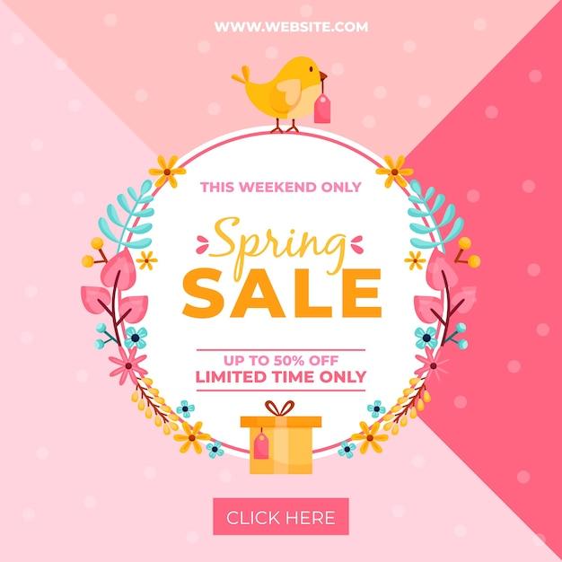 Platte ontwerp voorjaar promotionele verkoop Gratis Vector