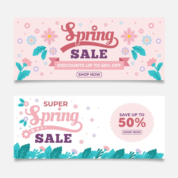 Platte ontwerp voorjaar verkoop banners collectie Gratis Vector
