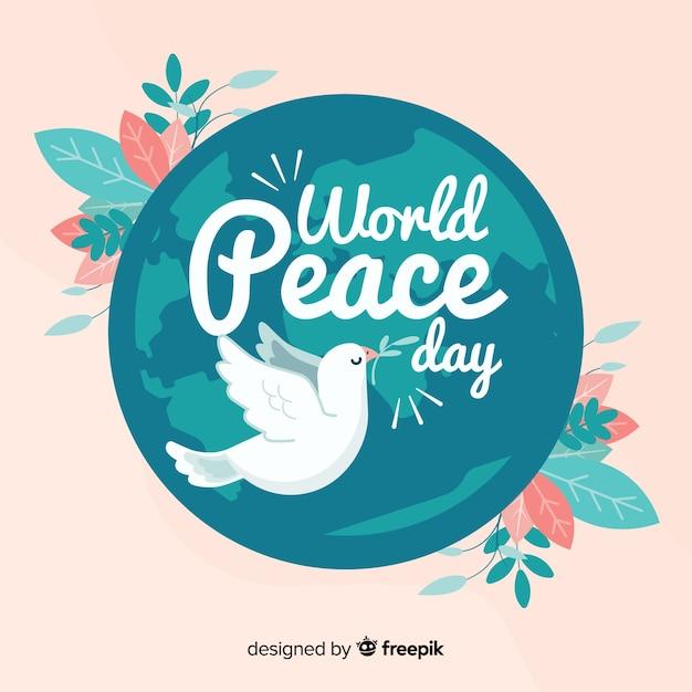 Platte ontwerp vrede dag achtergrond Gratis Vector