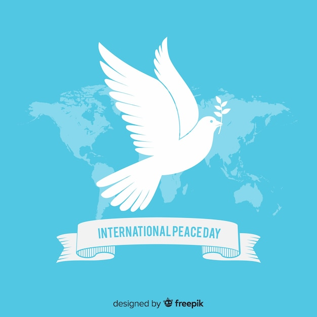 Platte ontwerp vredesdag met duif Gratis Vector