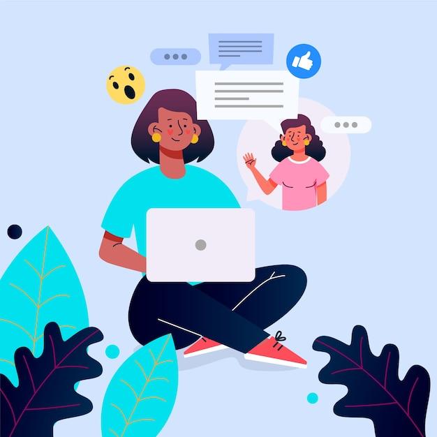Platte ontwerp vrienden videocalling op laptop illustratie Gratis Vector