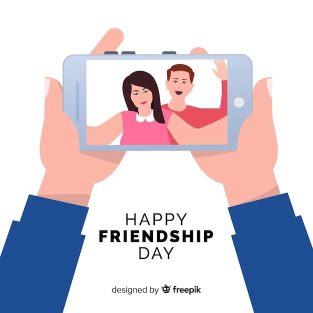 Platte ontwerp vriendschapsdag achtergrond Gratis Vector