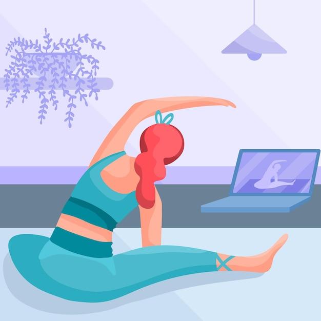 Platte ontwerp vrouw doet yoga Gratis Vector