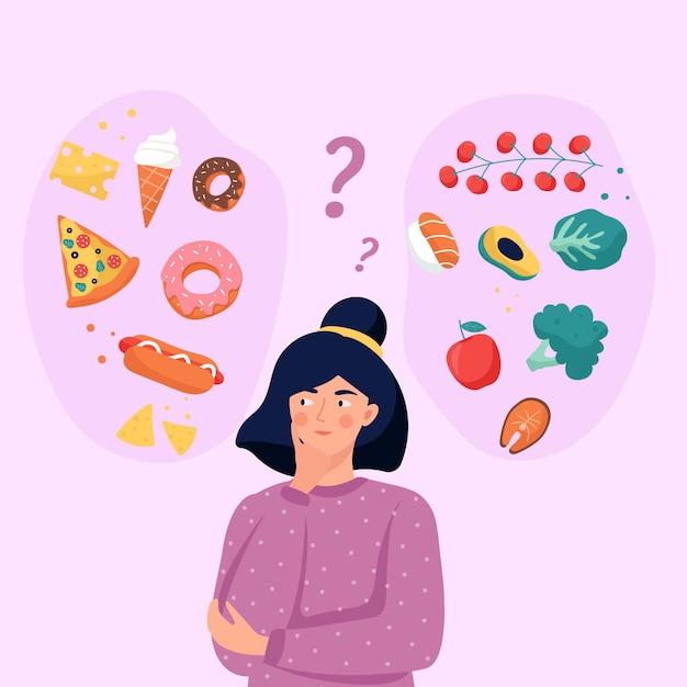 Platte ontwerp vrouw kiezen tussen gezonde of ongezonde voeding illustratie Gratis Vector
