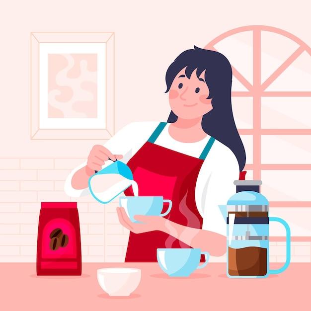 Platte ontwerp vrouw koffie illustratie maken Gratis Vector