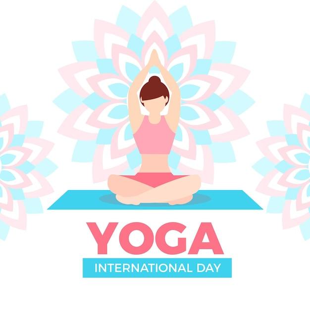 Platte ontwerp vrouw thuis yoga doen Gratis Vector