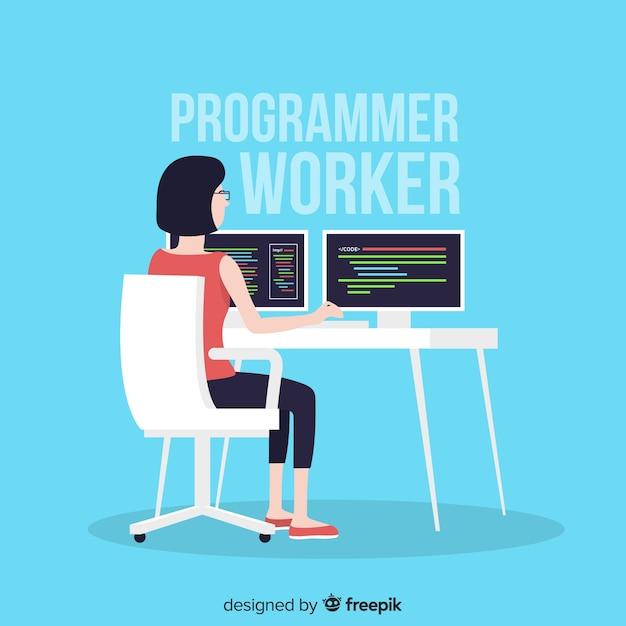 Platte ontwerp vrouwelijke programmeur werken Gratis Vector