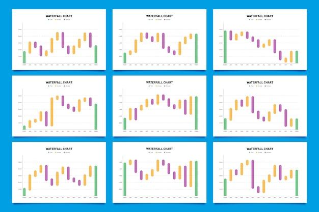 Platte ontwerp waterval infographic sjabloon Gratis Vector