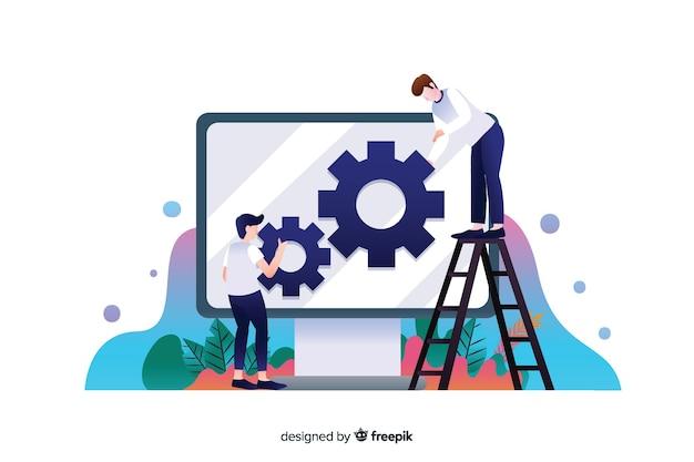 Platte ontwerp website setup concept met karakters Gratis Vector