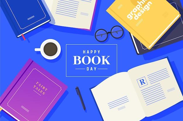 Platte ontwerp wereld boek dag concept Gratis Vector