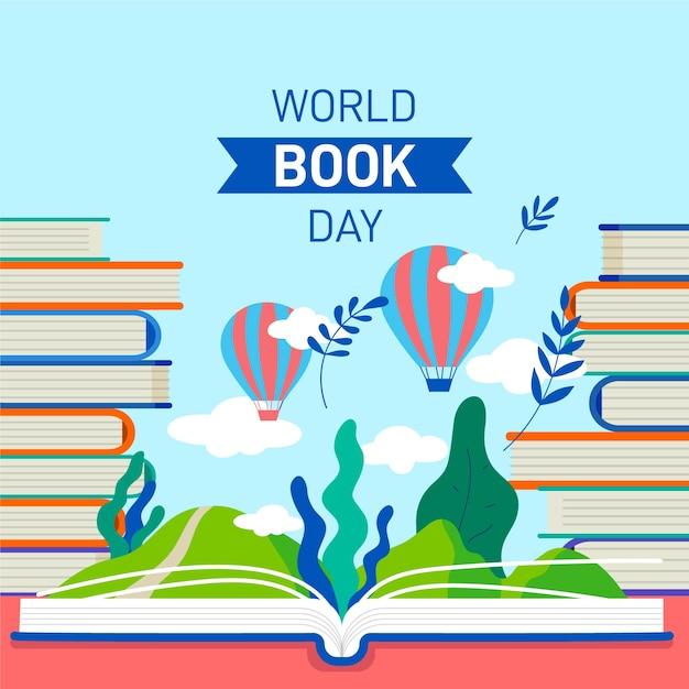 Platte ontwerp wereld boek dag viering Gratis Vector