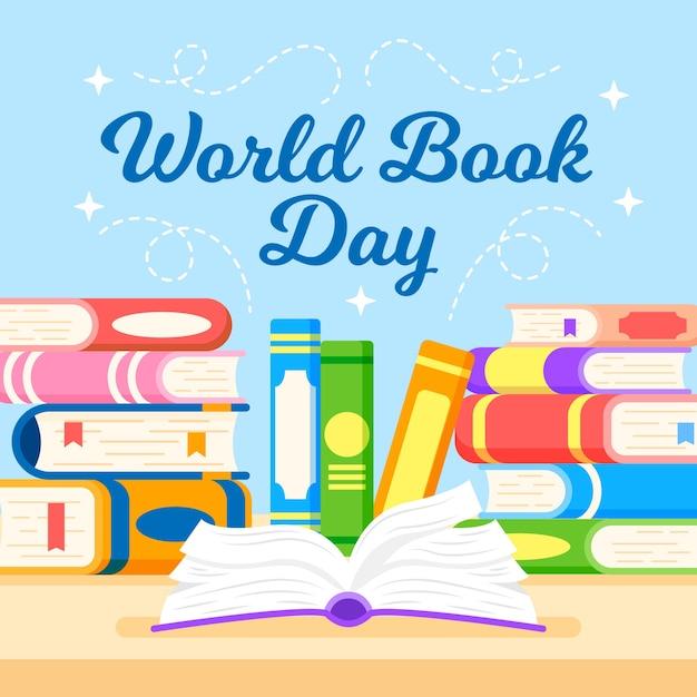Platte ontwerp wereld boekdag Gratis Vector