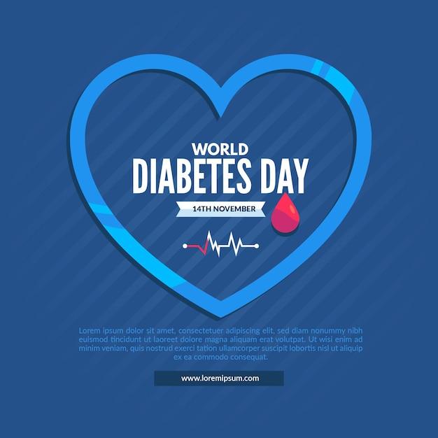 Platte ontwerp wereld diabetes dag illustratie met blauw hart Gratis Vector