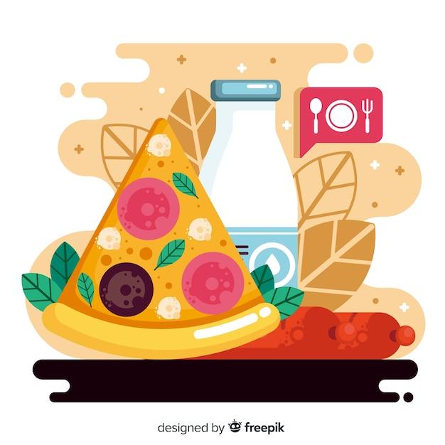Platte ontwerp wereld eten dag met pizza Gratis Vector