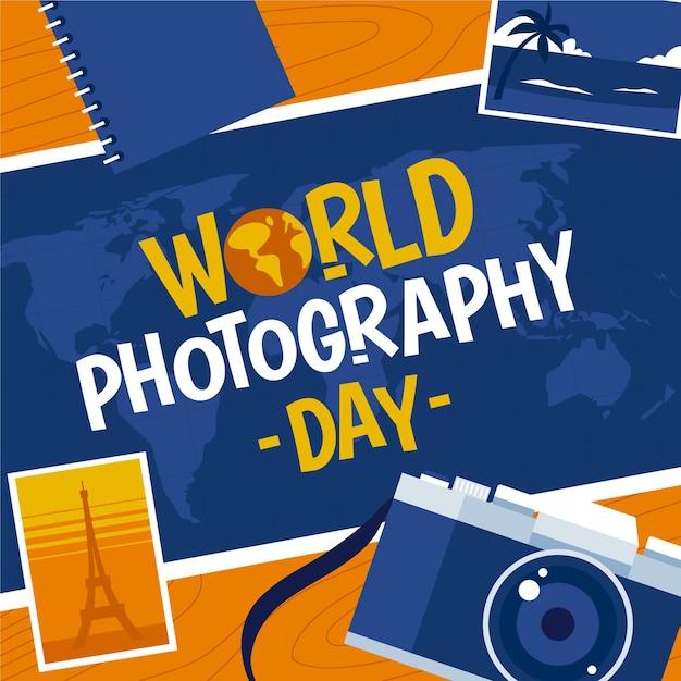Platte ontwerp wereld fotografie dag concept Gratis Vector