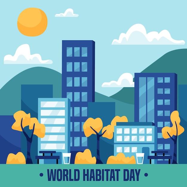 Platte ontwerp wereld habitat dag concept Gratis Vector