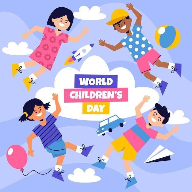 Platte ontwerp wereld kinderdag concept Gratis Vector