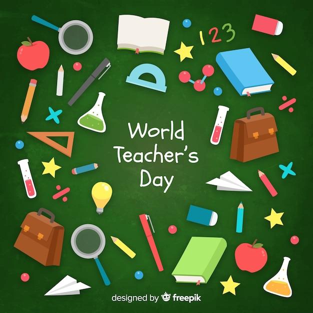 Platte ontwerp wereld leraar dag achtergrond Gratis Vector