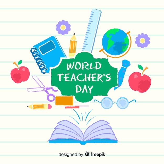 Platte ontwerp wereld leraren dag Gratis Vector