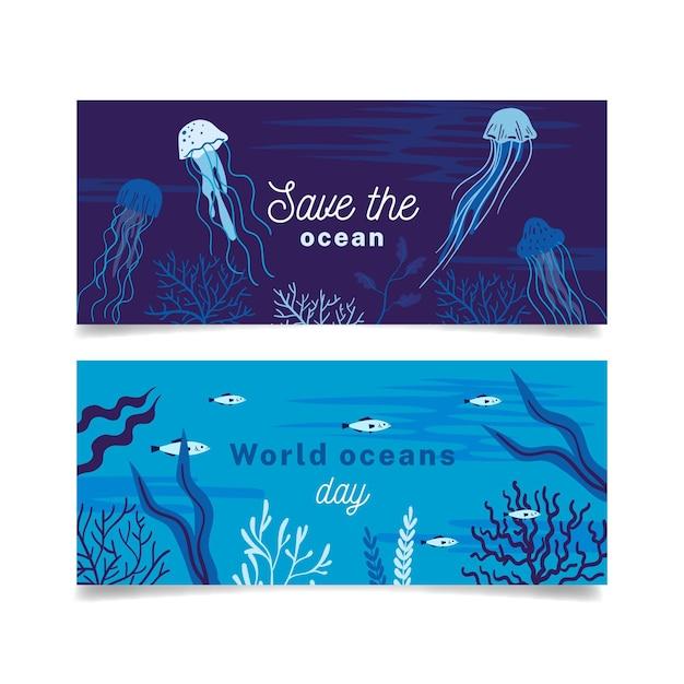 Platte ontwerp wereld oceanen dag banners Gratis Vector