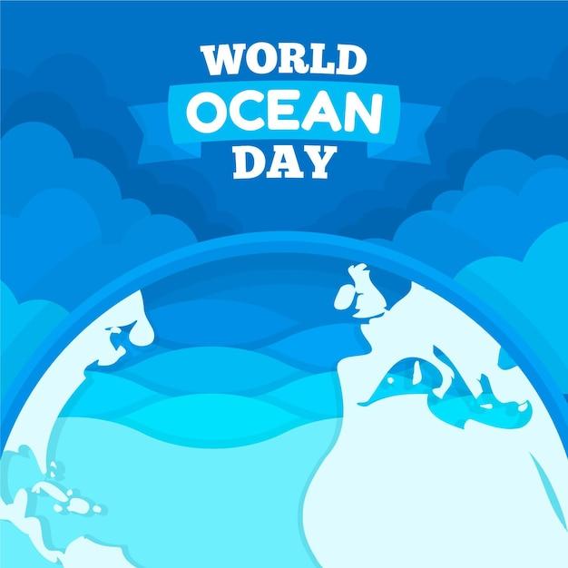 Platte ontwerp wereld oceanen dag illustratie Gratis Vector