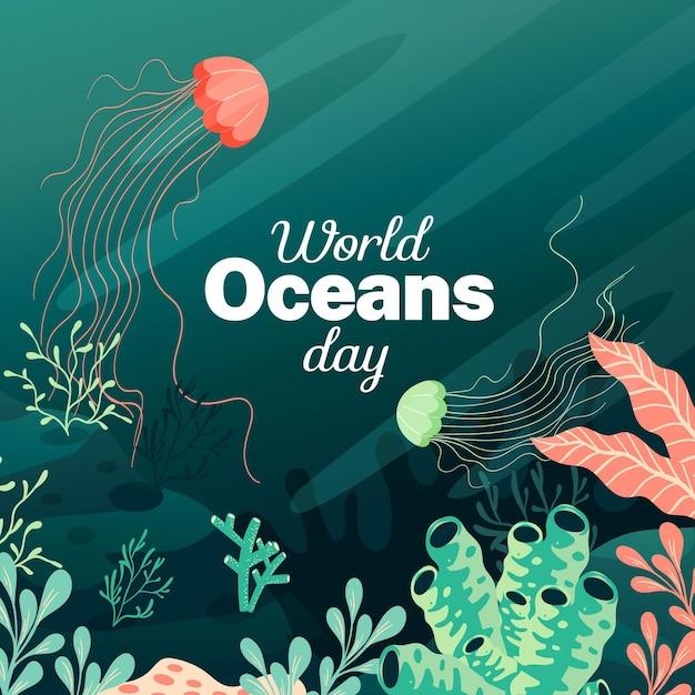 Platte ontwerp wereld oceanen dag Gratis Vector