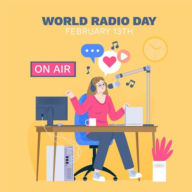 Platte ontwerp wereld radio dag achtergrond met vrouw Gratis Vector