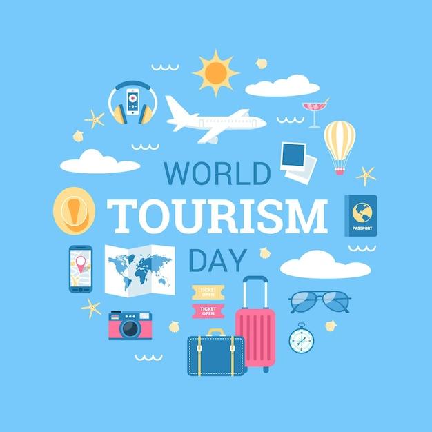 Platte ontwerp wereld toerisme dag achtergrond Gratis Vector